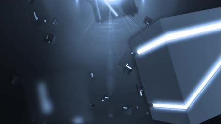 subtítulo : abstract background with flying rotating shining cubes