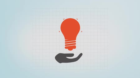 notion : good idea - a hand and a light bulb Stock Footage