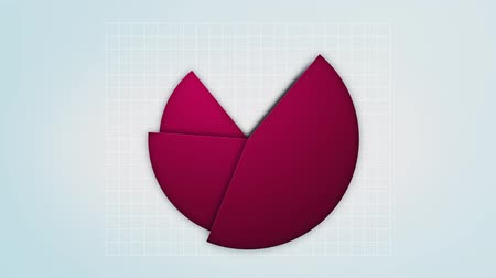 infografik : red pie chart in motion, loop