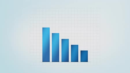 artış : infographic blue bar graph with different values, loop