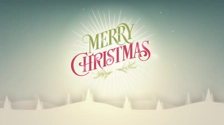 subtítulo : Merry Christmas background with snow and trees, loop Stock Footage