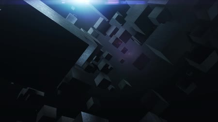 felirat : abstract background with flying cubes, loop
