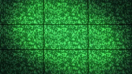 background with wall of twinkling green squares, loop