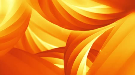 abstract orange background with spinning 3D objects