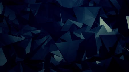 lasca : Abstract dark blue motion background with moving triangle crystals 4K, loop