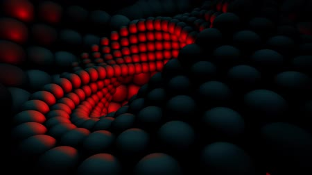 Motion background with moving spiral made of red spheres, loop