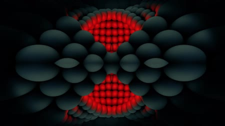 Motion background with moving red and grey spheres, loop