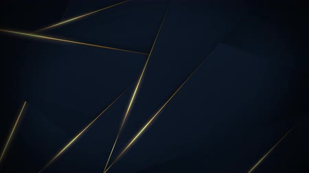 Dark blue background with moving golden lines, 4K, loop Stok Video