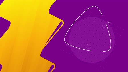 Violet and yellow background with abstract geometric figures, 4K, loop Stok Video