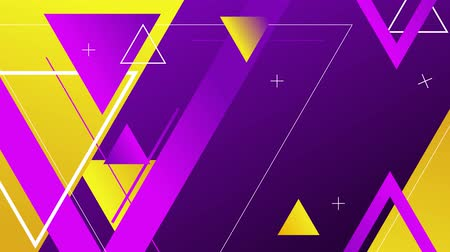 Blue and violet background with yellow geometric figures, 4K, loop Stok Video