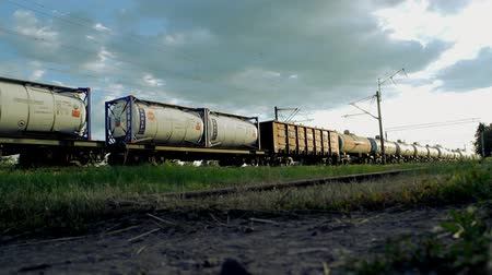 general electric : Cargo Train Pulls Cargo train with wagons, a Train pulls the railroad cars, train rides in the quarry
