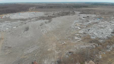 A large landfill of polluting the environment. Aerial surveys of polluted territory. Stock mozgókép