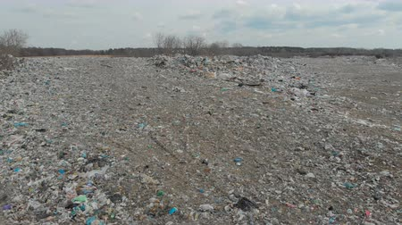 dumping : A large landfill of polluting the environment. Aerial surveys of polluted territory. Stock Footage