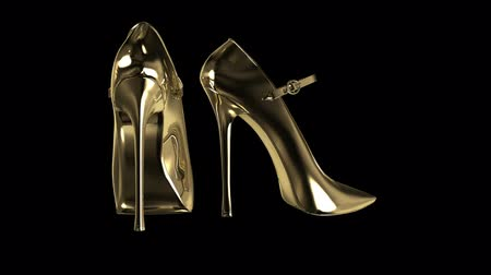 butik : Gold Woman`s shoes Stok Video