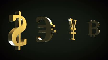 Major currencies symbols and Bitcoins Stock Footage