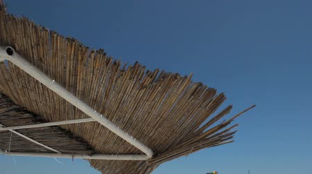 Thatched roof over blue sky Stock Footage