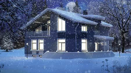 Modern house in a winter Christmas scene