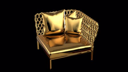 Gold couch Stock Footage