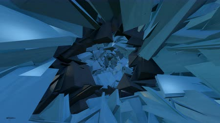 Fly-trough blue tunnel build of geometric fragments. Loop. Stock Footage