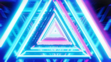 Cyan and magenta neon tubes construction tunnel. A flyby endless scene. Loop sequence. Stock Footage