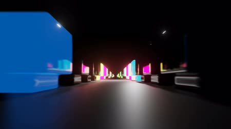 LED structures in a row tunnel with infinity end. Vibrant color formations set in a lines, blinks and changes colors. Looped footage.