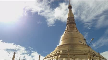 Pagoda, time lapse view of famous Buddhist landmark in Yangon, Myanmar (Burma).