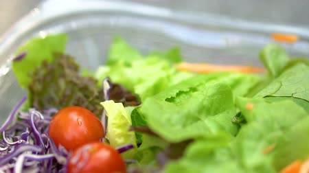 малая глубина резкости : Close Up of Fresh Lettuce and Cherry Tomatoes in Plastic Container