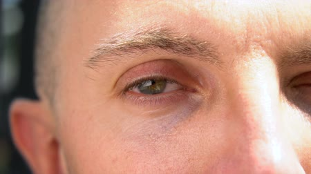 брови : Blue Brown Eye Twitching and Blinking Close Up in Slow Motion
