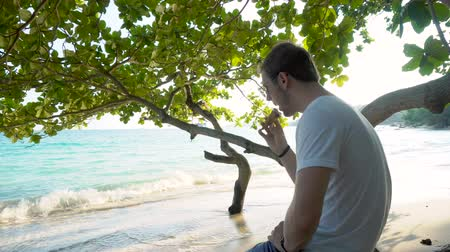 expat : Young Caucasian Digital Nomad Expat Eating Ice Cream While Sitting at Tropical Beach of Exotic Southeast Asian Country Stock Footage