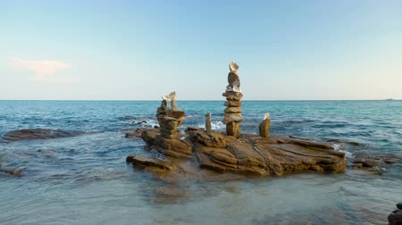 pyramida : Many Stacked Stone Pyramid Towers At Ocean Shore of Tropical Island