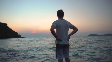 soft earth : Young Man Standing on Rock By Ocean Shore While Looking At Tropical Sea Before Sunrise Stock Footage