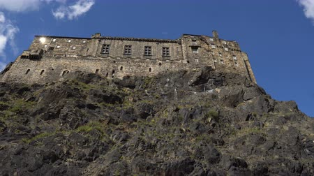 Edinburgh Castle Moving Hyper Lapse On Sunny Day - Famous Landmark and Tourist Attraction on Castle Rock in Scotland