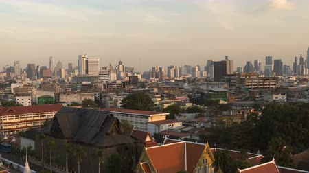 ziyaret : Bangkok, Thailand Old Town Skyline With New Skyscrapers in Distance Seen Through Temple Window on Hill
