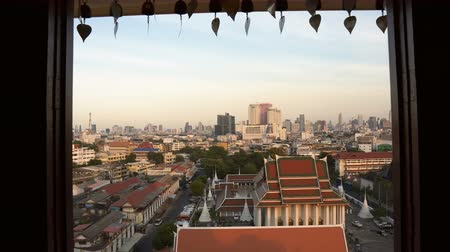ziyaret : Bangkok Old Town City Skyline Seen Through Temple Window on Hill