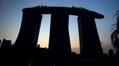 Silhouette of Singapore Marina Bay Sands Hotel During Sunset - Commercially Usable