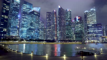 Commercially Usable Singapore Finance District City Skyline and Waterfront at Night