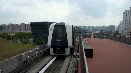 Commercially Usable - Futuristic Automatic Driverless Train Driving on Elevated Tracks in City of Singapore