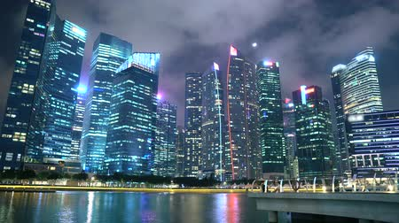 Time-Lapse Of Business and Finance District Skyscraper Buildings Of Singapore City At Night