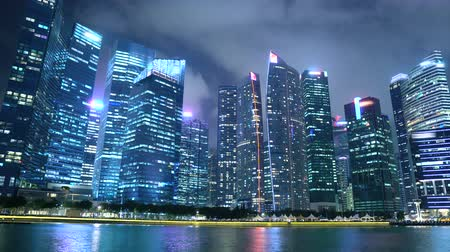 Commercially Usable Timelapse of Singapore Finance District City Skyline and Waterfront at Night