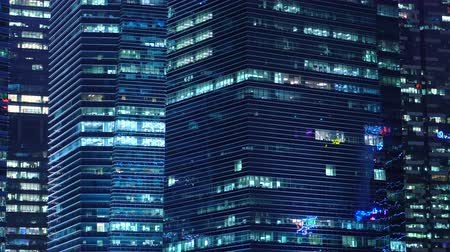 4K Exterior Of Generic Modern Office Buildings and Illuminated Windows At Night Dostupné videozáznamy