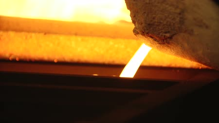 barmetro : Inundation of liquid burning hot gold in the forms of bars Stock Footage