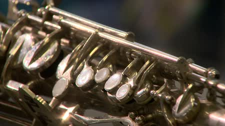 A musical instrument is a saxophone Stok Video