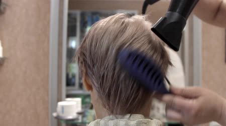 dyeing : at the hairdresser, a beautiful young woman at the reception makes hair styling with a comb and an electric hair dryer with hot air