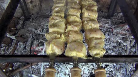 fogueira : Shish Kebabs From Different Types Of Meat, On Skewers, Cooked On Charcoal