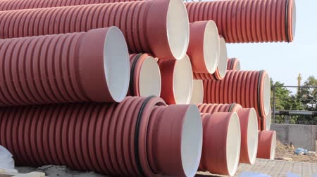 boru hattı : huge plastic pipes for water at a construction site for laying water pipes