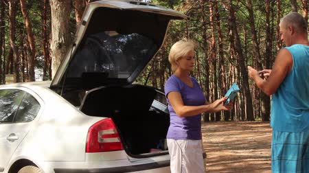 a man and a woman in the forest are trying to catch, looking for a signal on a mobile phone in the forest, standing near a stopped car with the back door open Wideo