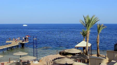 egito : Coral beach with pier and boat the Red Sea near the reef. Egypt Sharm El Sheikh