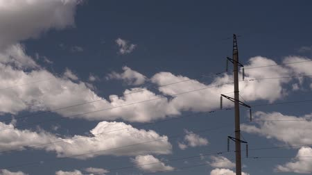 Time interval of the cloudy sky, Fast clouds on a blue sky. TimeLapse. Modern technologies. Power Engineering, Stok Video