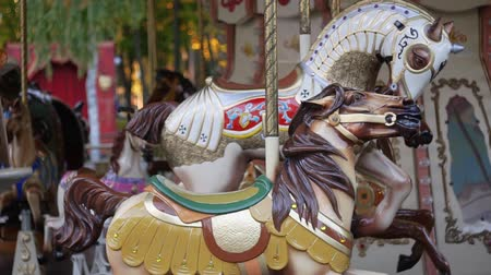 Childrens carousel. The territory of the park. National French carousel. Amusement park. Carousel does not work. Stock mozgókép