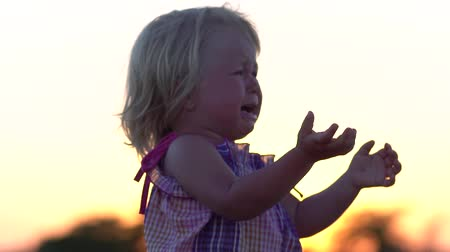 Crying baby. Child at sunset in the meadow. Crying baby. Slow motion. Abandoned children. Lost baby. Little saddened girl. Offended child. Little girl with tears on her face. Stok Video